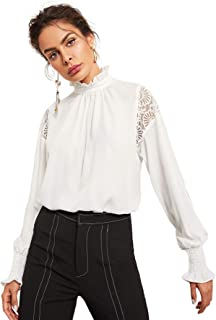 Floerns Women's Long Sleeve Stand Collar Lace Chiffon Blouse Top