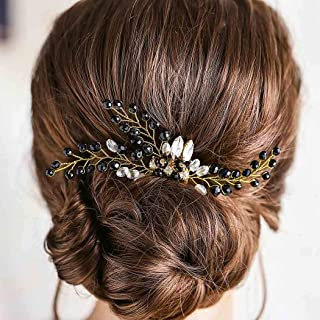 Drecode Bridal Wedding Hair Comb Black Crystal Flower Bride Headpiece Sparkly Crystal Hair Accessories for Women and Girls