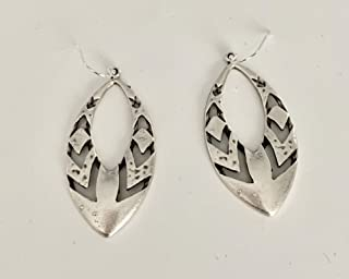 Large Native Tribal Design Dangle on Sterling Silver Earrings Statement