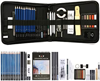 Drawing Pencils Set, 51 Pack Professional Sketch Pencil Set in Zipper Carry Case, Art Supplies Drawing Set with Graphite C...