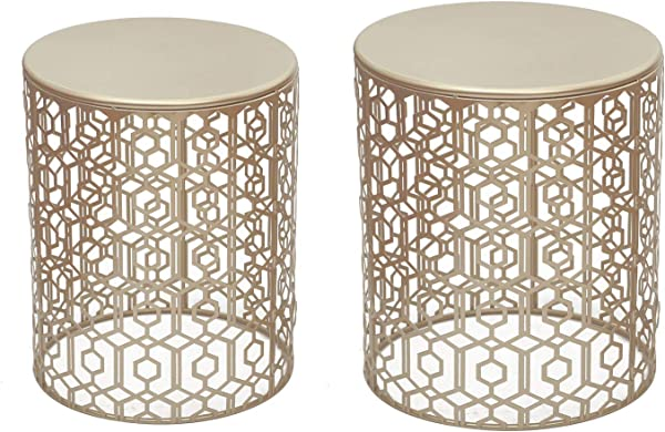 Adeco Decorative Nesting Round Side End Accent Coffee Table Side Table Nightstand Set Of 2 Gold