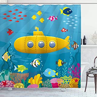 """Ambesonne Yellow Submarine Shower Curtain, Coral Reef with Colorful Fish Ocean Life Marine Creatures Tropic Kid, Cloth Fabric Bathroom Decor Set with Hooks, 70"""" Long, Blue Yellow"""