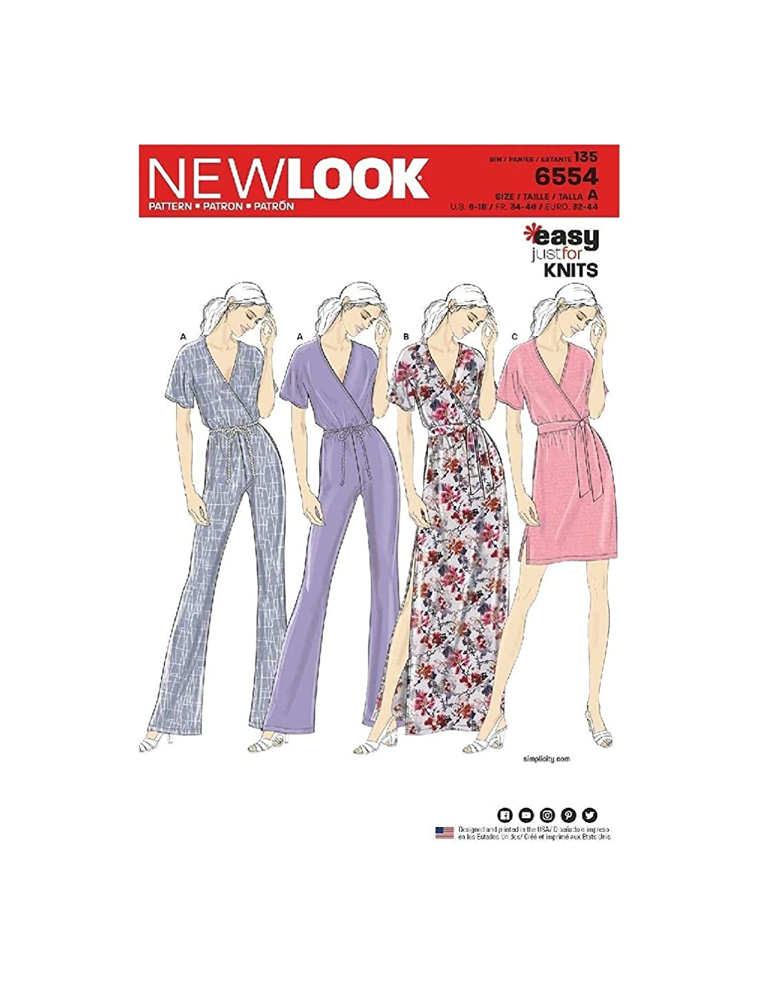 New Look 6554 Misses' Knit Jumpsuit and Dresses Sizes 6-18 Sewing Pattern