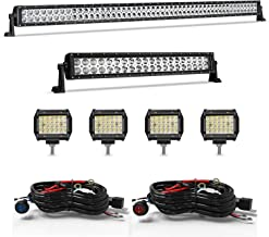 Led Light Bar Kit TURBO SII 52 Inch Led Bar + 22 Inch Light Bars Offroad Lights + 4PCS 4in 72W LED Pods Driving Fog Lights W/Switch Wiring Harness for Trucks Jeep Ford Polaris Boat