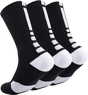 Huriman Elite Basketball Crew Socks, Sports Athletic Performance Compression Cushion Socks for Men and Women