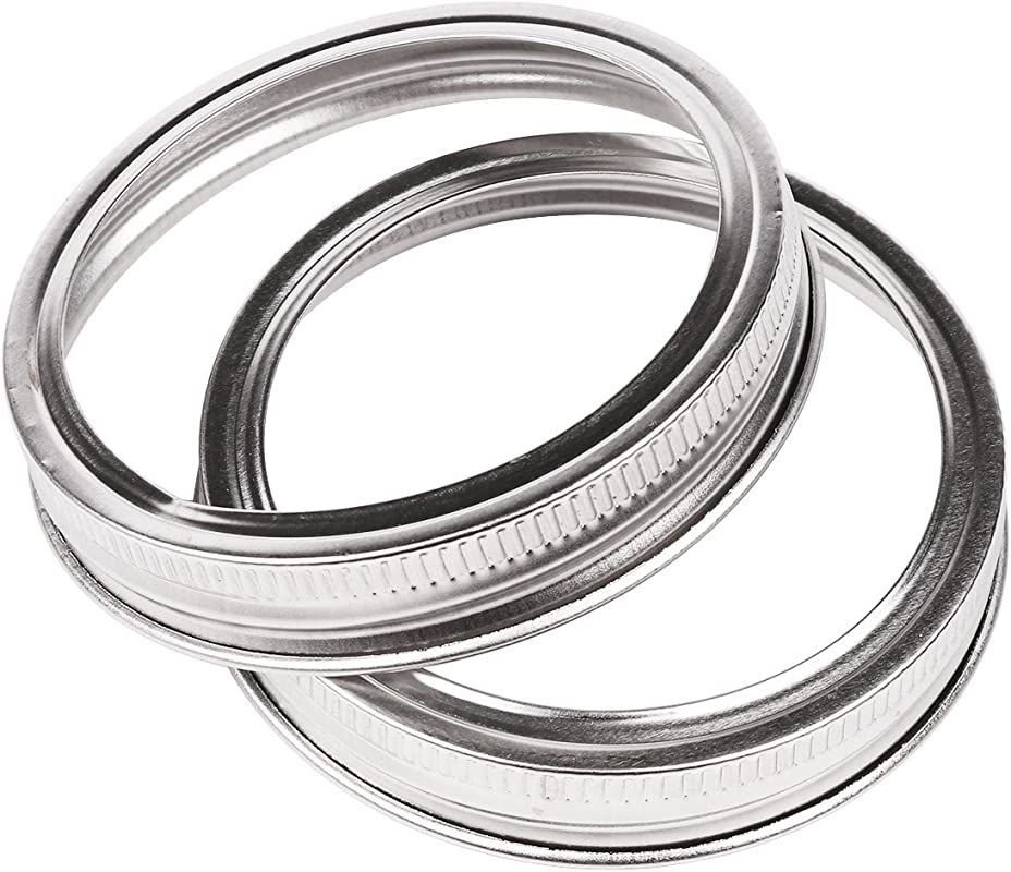 CHICTRY 10 Pack Stainless Steel Screw Bands Rings Rustproof Replacement Jar Lid Tops For Wide Mouth Mason Jars Ball Canning Jars Silver One Size