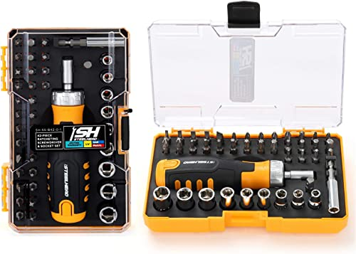"discount STEELHEAD wholesale 42-Piece Ratcheting Magnetic Screwdriver Bit & Socket Set, (4) Hex, (6) Phillips, (5) Slot, (4) Square, wholesale (7) Star, (9) 1/4"" SAE & Metric Sockets, Handle Bit Storage, USA-Based Support sale"