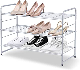 Simple Trending 3-Tier Stackable Shoe Rack, Expandable & Adjustable Shoe Shelf Storage Organizer, Wire Grid, Silver