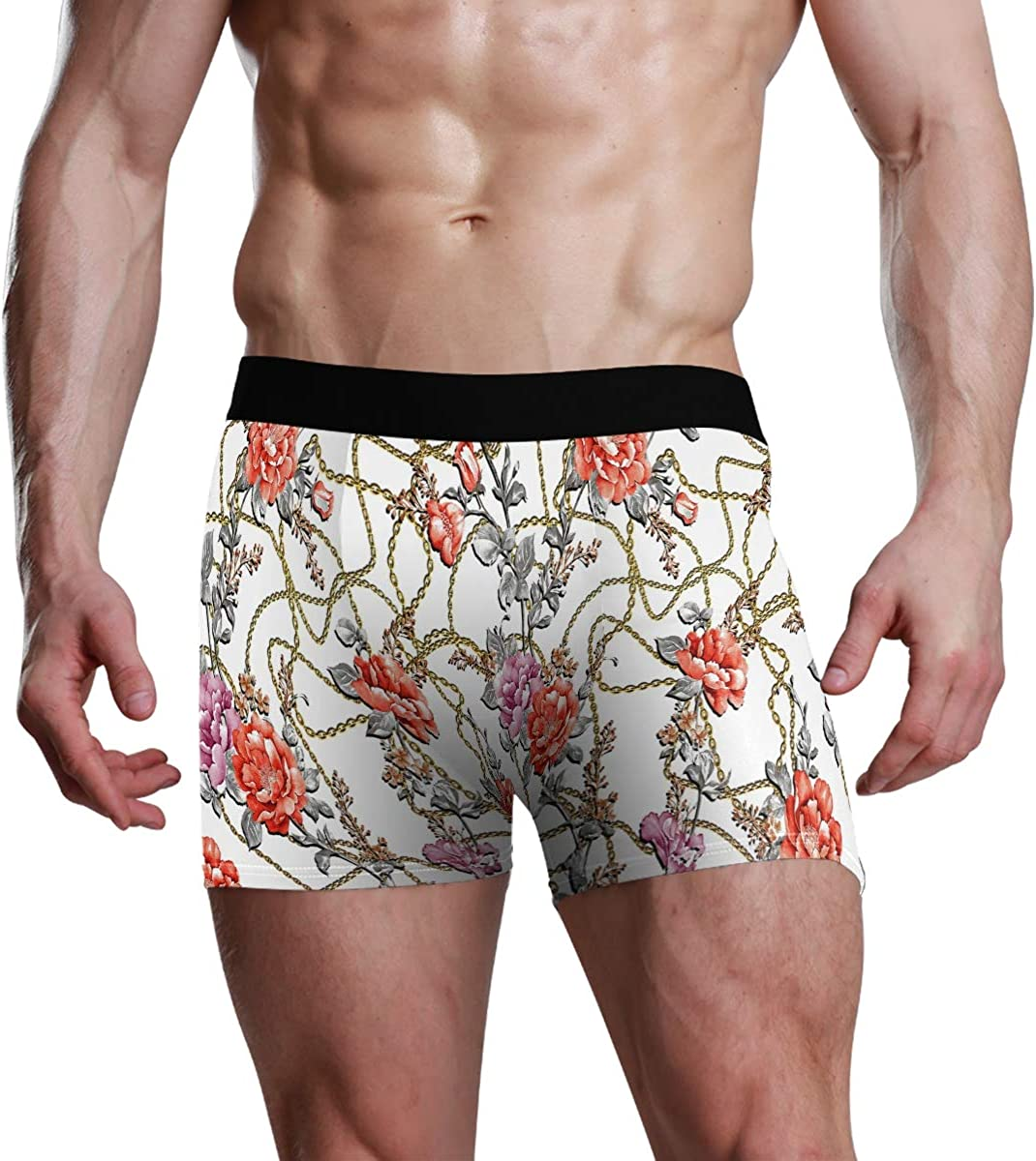 Mens Underwear Boxers Flowers Peony Rose Leaf Drawing Chain Gold Elegance Pattern ComfortSoft Boxer Briefs Breathable Bikini