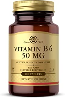 Solgar Vitamin B6 50 mg, 100 Tablets - Supports Energy Metabolism, Heart Health & Healthy Nervous System - Non-GMO, Vegan,...