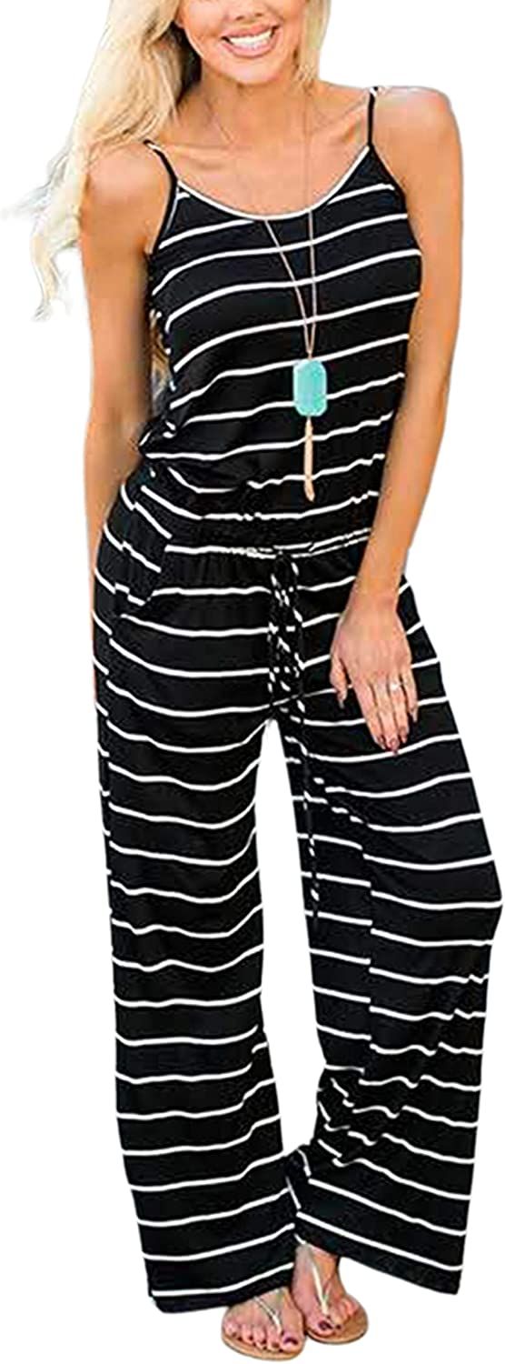 X-Image Womens Casual Jumpsuits Comfy Summer Rompers Spaghetti Strap Floral Printed Striped Jumpsuit with Pockets