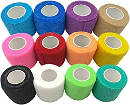 DE Sports Pre-Wrap,12 Pieces Rainbow Pack of Athletic Tape for Sports,Wrist,Ankle