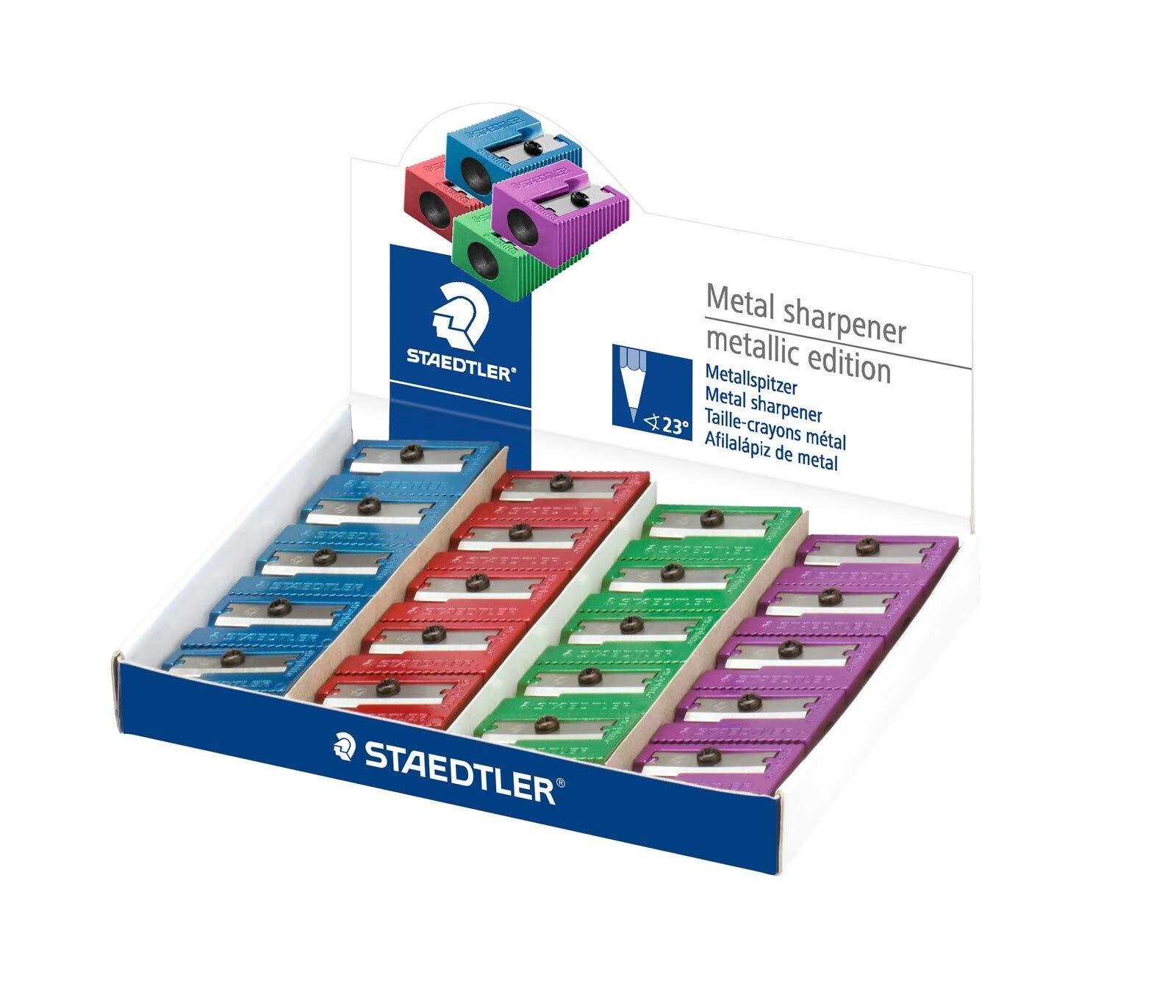 STAEDTLER 510 10 PR2. Afilalápiz de acero inoxidable. Caja con 20 sacapuntas de metal de color: Amazon.es: Oficina y papelería