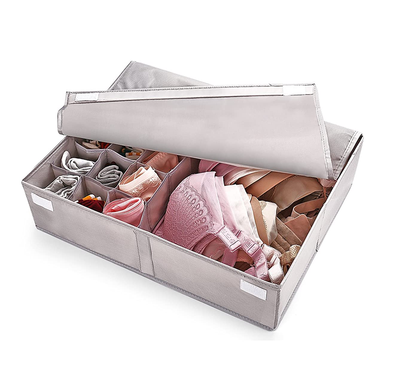 OYT Foldable Closet Underwear Organizer with Lid,Drawer Divider Organizers,Perfects for Sorting Storage Socks,Bra,Scarves and Lingerie in Wardrobe or Under Bed,Breathable Washable Oxford Fabric(Grey)