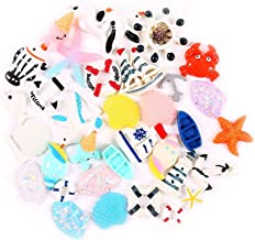 36 Pack Ocean Animals Slime Charms Slices Resin Fish Shell Shark Whale Sea Gull Steel Life Boat Flatback Beads for Navigation Series Lovers Scrapbooking Rustic Craft Supplies