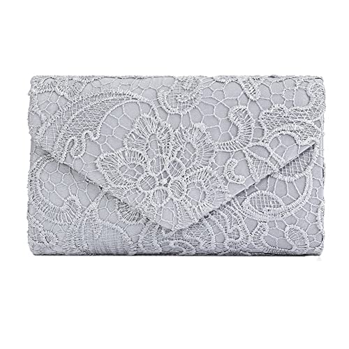 dad978cf88a Ladies Satin Lace Envelope Clutch Bag, Clorislove Evening Shoulder Bag for  Bridal Wedding Handbag Prom