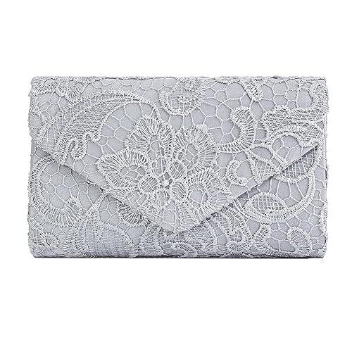 2b3c393cc3d5 Silver Clutch Bags for Weddings  Amazon.co.uk
