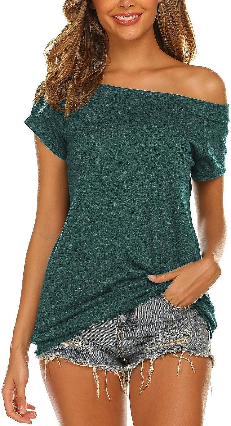 Lalala Camiseta larga para mujer, parte superior elegante, sin hombros, manga corta/manga larga
