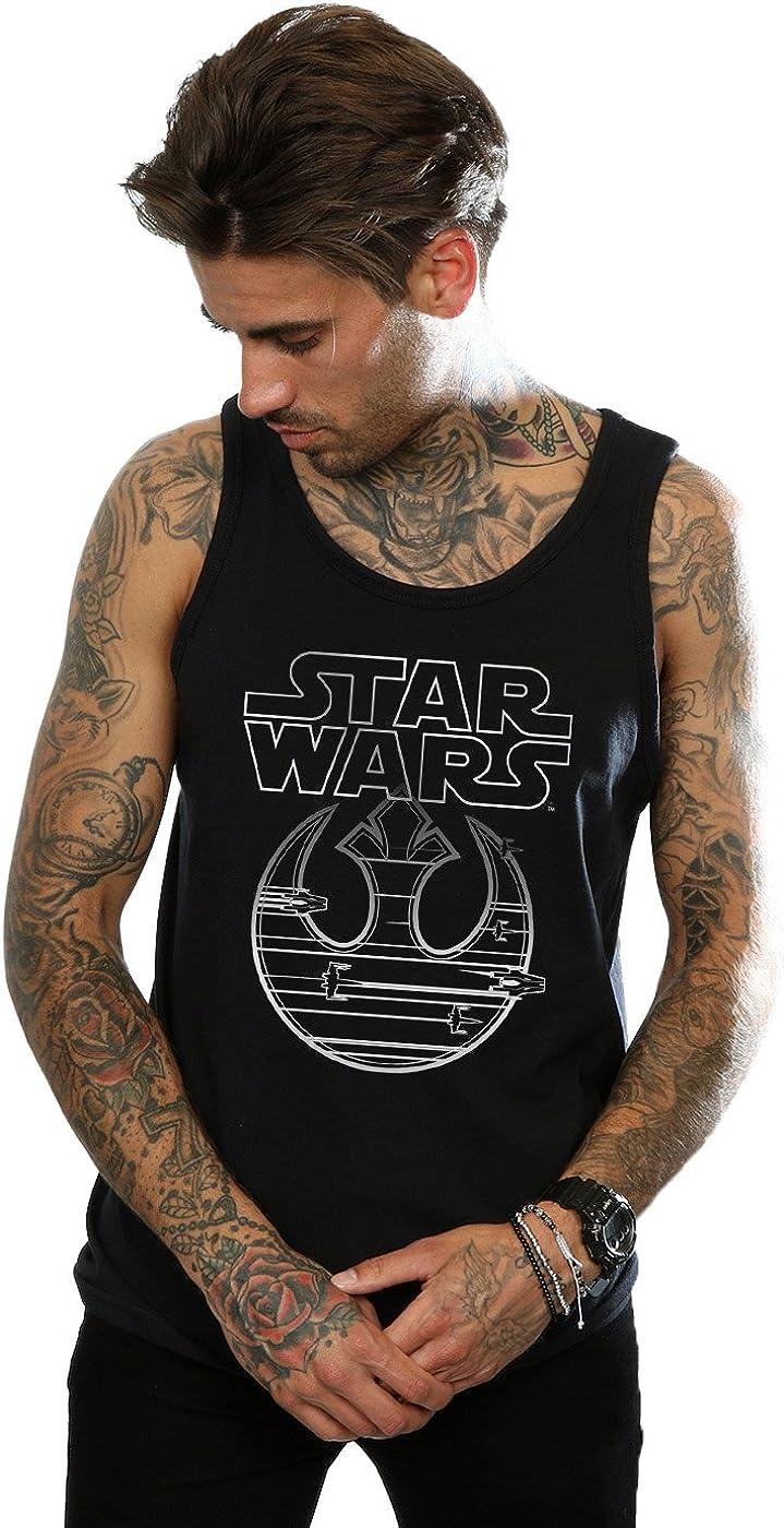 STAR WARS Men's The Last Jedi Resistance Logo Metallic Tank Top Large Black