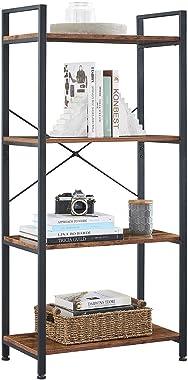 VINEXT Small Bookcase,4-Tier Bookshelf Storage Rack Shelf Unit for Living Room Bedroom Office Kitchen, Industrial Book Shelves Vintage Wood and Metal Bookshelves, Retro Brown