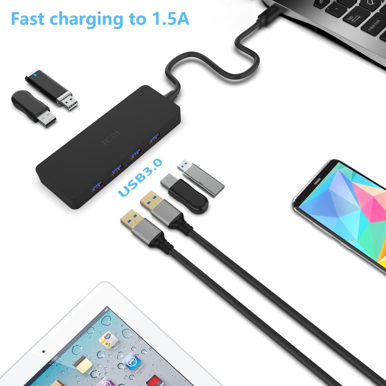USB C Hub 6-Port, ICZI Type C Hub (Compatible Thunderbolt 3 Port) with 4 USB 3.0 Ports and 2 USB 2.0 BC 1.2 Quick Charging Ports for MacBook Pro, ASUS U4100, Lenovo Yoga 900, Dell XPS15