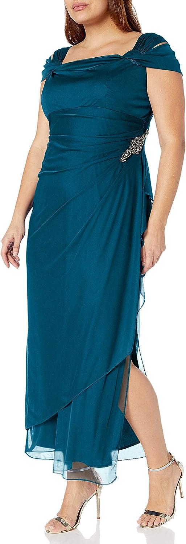 Alex Evenings Women's Plus Size Ruched Side 人気激安 Cold-Shoulder Dress 新品未使用正規品