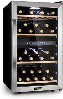 KLARSTEIN Vinamour - Nevera para vinos, Nevera para Bebidas, Refrigerador gastronomía, 2 Zonas, Iluminación LED, Módulo In...