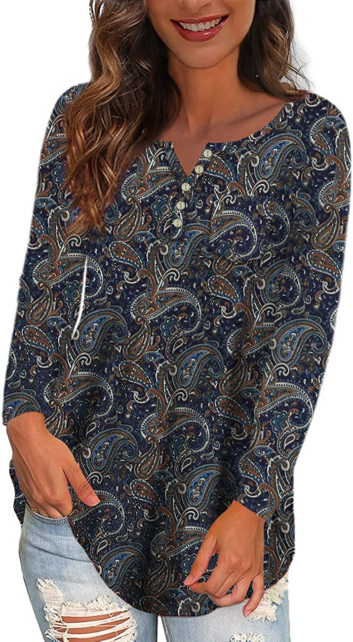 Ushdele Women's Plus Size Tops V Neck Button Henley Floral Casual Tunic Tops Blouse with Pocket