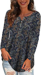 Women's Plus Size Tops V Neck Button Henley Floral Casual...