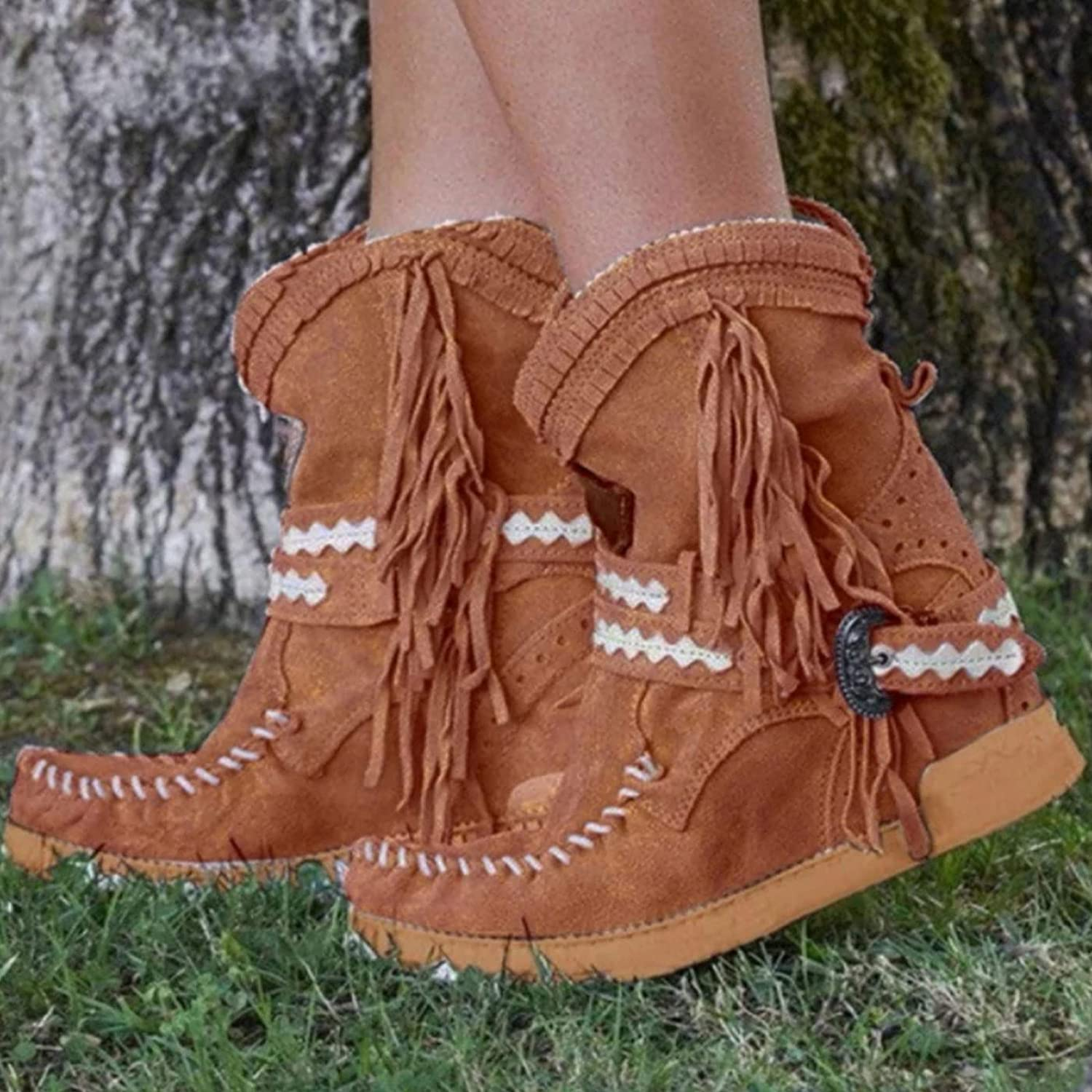 CAICAIL Brand Cheap Sale Venue Regular store Women's Western Cowgirl Boots Heel Casual S Flat Fringed