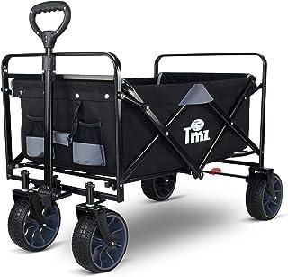 TMZ Folding Handcart All-Terrain Garden Trolley with Foot Brake, Patented Wide Car Tyre Folding Trolley, 90 L Hand Trolle...