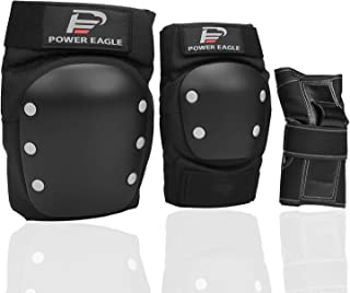 Power Eagle Knee Pads and Elbow Pads with Wrist Guards Protective Gear Suit for Skateboarding, Cycling, Snowboarding, Roller Skating and Other High-End Extreme Sports Safety Protection