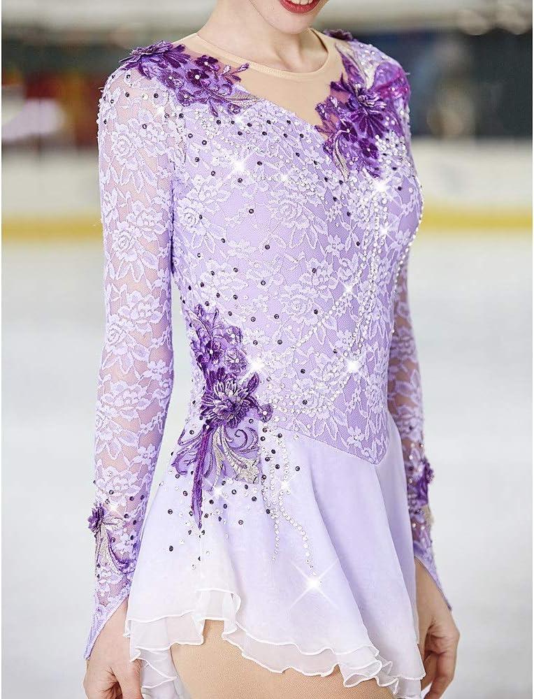 Figure Skating Dress Womens Girls Rhinestone Ice Skating Dress