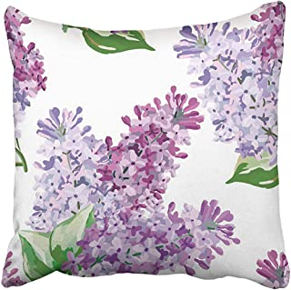 Starolal Throw Pillow Covers Cases Decorative 18x18 inch Purple Floral Lilac Bouquets on The White with Spring Flowers Beautiful Cottage Hand Two Sides Print Pillowcase Case Cushion Cover