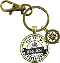 You Are My Greatest Adventure Keychain Vintage Outdoors Inspired Romantic Couple Jewelry Gift Compass Charm