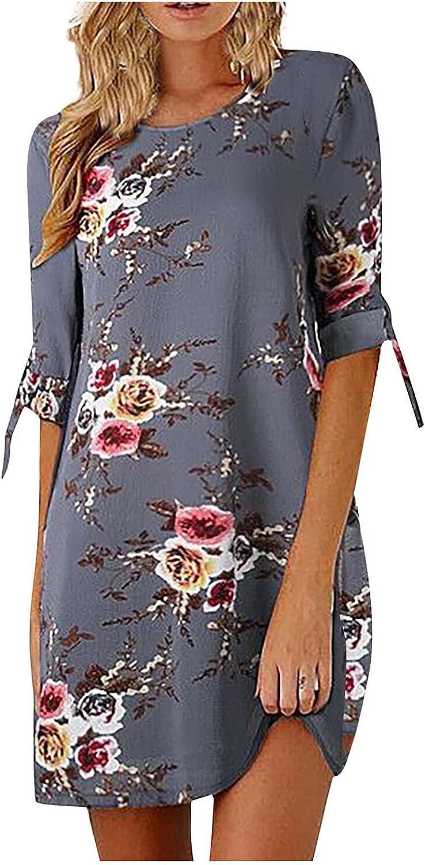 KAIXLIONLY Women's Short Sleeve Round Neck Flower Print Casual Plain Sleeve Dress Casual Loose Plus Size Midi Dress