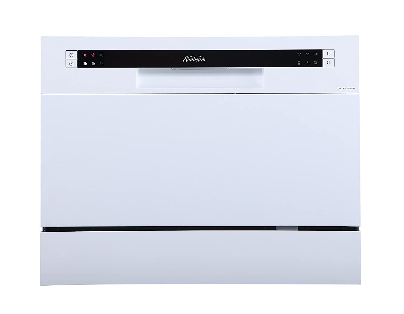 Sunbeam DWSB3602GWW Compact Countertop Dishwasher With Delay Start, White