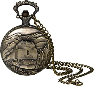 Pocket Watch for Men and Boys Vintage Bronze Steampunk Train and Mountain Decorative Case Arabic Numeral Dial Quartz Analog Pocket Watch with Chain for Halloween Costume Party Christmas