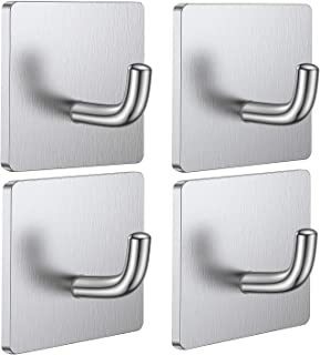 THERESA Adhesive Hooks Heavy Duty Stick on Wall Door Cabinet Stainless Steel Towel Coat Clothes Hooks Self Adhesive Holder...