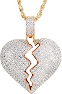 Men's Twist Chain 18k Gold Plated CZ Fully Iced-Out Broken Heart Pendant