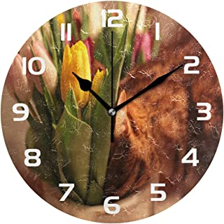 Dozili Tulips Flower Decorative Wooden Round Wall Clock Arabic Numerals Design Non Ticking Wall Clock Large for Bedrooms, Living Room, Bathroom