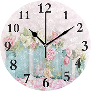 ZHOUSUN Silent Wall Clock Dreamy Shabby Chic Pink White Roses for Home/Office/Kitchen/Bedroom/Living Room