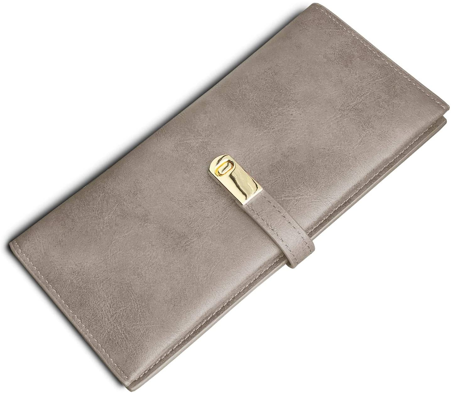 TOPKULL Ultra Slim Wallet for Women Leather,Thin Womens Wallet Billfold Skinny Rfid Ladies Wallet Large Bifold Long Card Holder Flat Coin Purse Magnetic Closure (Grey)