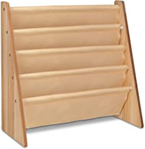 LIVIVO ® Childrens Colourful Sling Storage Bookshelf – Easy Access Wooden Book Rack Storage with Soft Nylon Fabric Shelves to Protect your Kids Books – Perfect Height for your little reader (Natural)