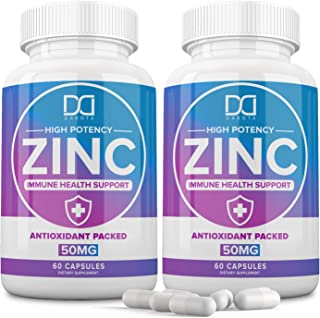 Zinc Vitamin Supplements 50mg for Immune Support Booster, Zinc Picolinate for Adults Kids - Zinc Pills Offer High Potency Alternative to Lozenge, Chewable Tablets, Liquid (2 Month Supply)