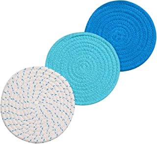 Lifaith 100% Cotton Thread Weave Pot Holders, Hot Pads, Pot Holders, Spoon Rest, Jar Opener & Coasters, for Cooking and Baking, Diameter 7 Inches, Round, Set of 3, Blue Set