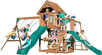 Swing-N-Slide WS 8354 Knightsbridge Super Swing Set with Two Slides, Monkey Bars, Climbing Wall, Music Play & Climbing Wall, Wood