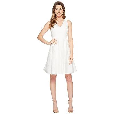 Maggy London Leafy Flower Burnout Fit Flare Dress (White) Women