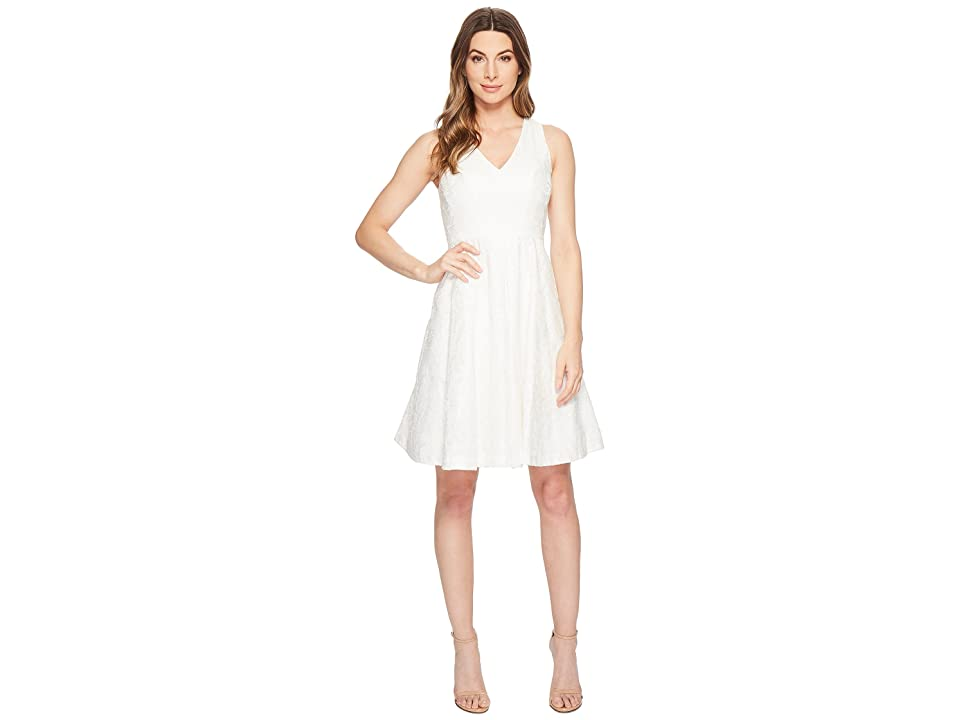 Maggy London Leafy Flower Burnout Fit Flare Dress (White) Women