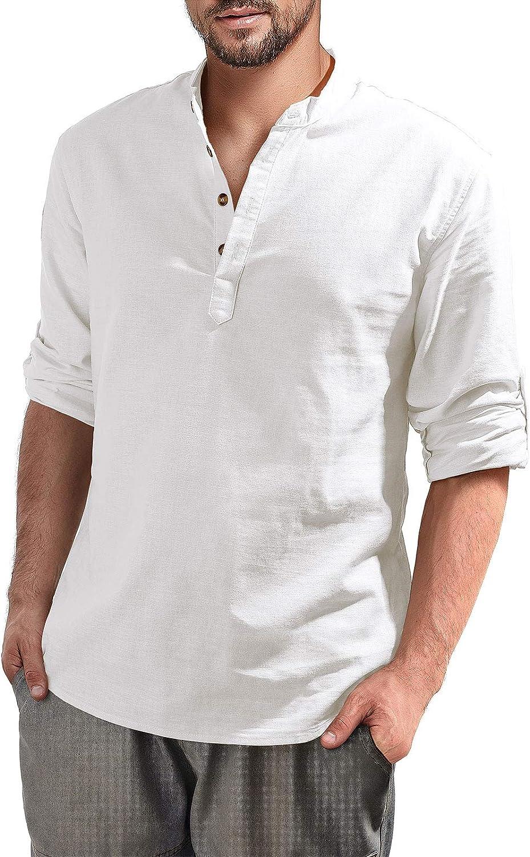 Aimeilgot Mens Limited time sale Long Sleeve Max 42% OFF Henley Linen Beach Shirt Cotton Loose